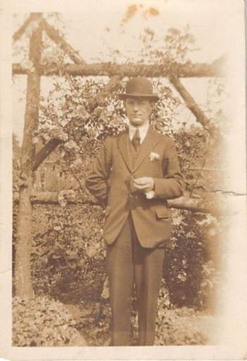 Photograph Snapshot Vintage Black and White: Fancy Posh Man Suit Hat 1920's