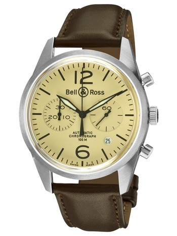 Best luxury watches for men Bell & Ross Men's BR-126-ORIGINAL BEIGE Vintage Beige Chronograph Dial Watch