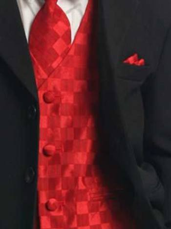 Red Vest , Tie & Pocket Square with Black Suit