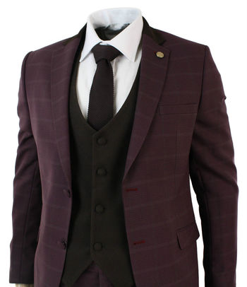 Mens 3 Piece Wine Maroon Plum Retro Check Herringbone Tweed Suit Brown Tailored