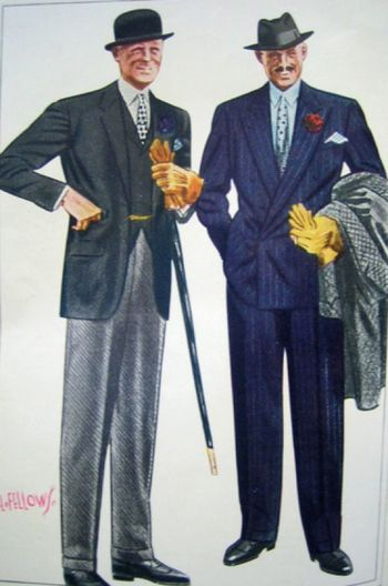 30s men's clothes show the importance of good tailoring and a nice cane to pair with any suit.