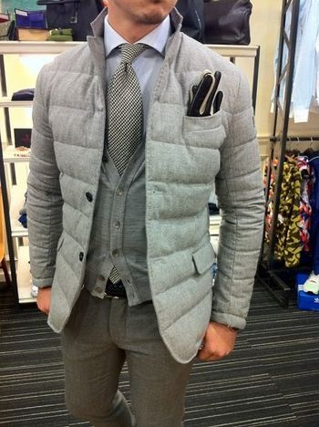 Great example that you don't need a suit jacket to wear a necktie. Superb winter style!