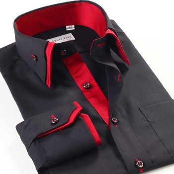 Mens Casual Double Collar Slim Fit Formal Shirt Italian Design Long Sleeve DC07 (M, Red) Lyon Becker