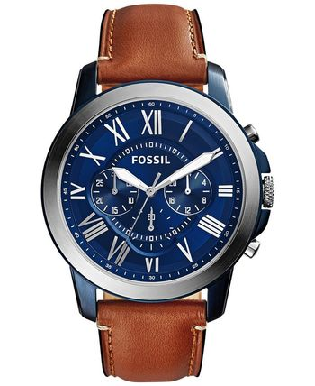 Fossil Men's Chronograph Grant Light Brown Leather Strap Watch 44mm fs5151 - Men's Watches - Jewelry & Watches - Macy's