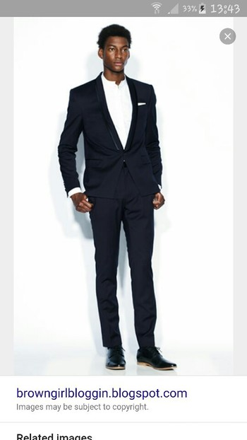 Groom outfit. Navy suit with collarless shirt