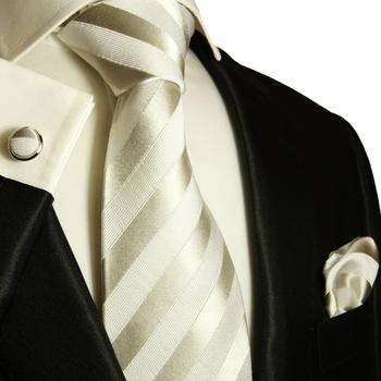 Paul Malone Silk Tie Set - White