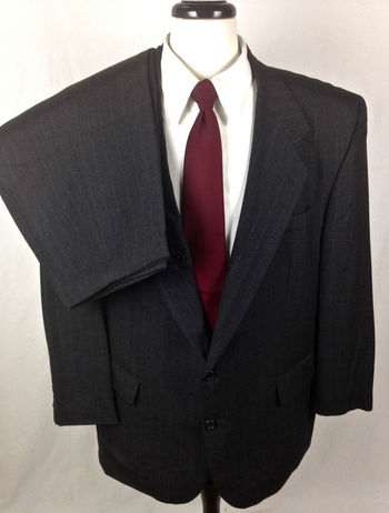 John Claredon Suit 48 Gray Wool Pinstripe Blazer Jacket Pants 48R Mens