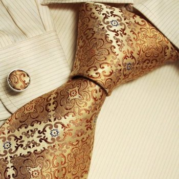 Gold Pattern Ties for Men Father's Day Gift Ideas Accessories Silk Necktie Cufflinks Set A1121 One Si