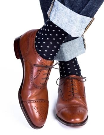 men's yellow dot dress socks