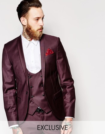 Noose & Monkey Suit Jacket With Stretch And Shawl Lapel In Skinny Fit at asos.com