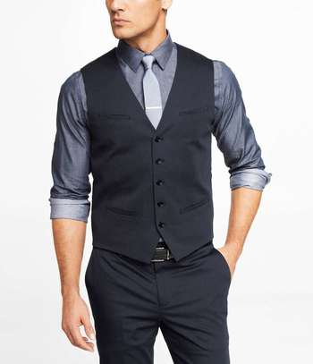 Express NAVY COTTON SATEEN SUIT VEST for $80 / Wantering