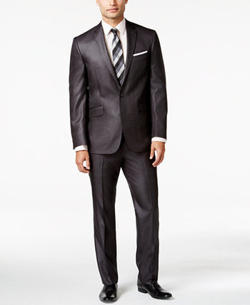 Kenneth Cole Reaction Charcoal Basketweave Slim-Fit Suit - Suits & Suit Separates - Men - Macy's