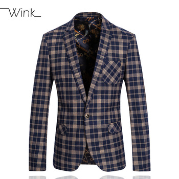 Luxury Wool Suits Blazer For Men Single Button Wedding England Style Plaid Coat Slim Fit Men Formal Nice Suit Jackets Navy E347 - Apparel Case
