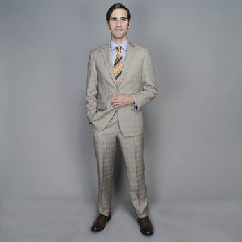Tan Plaid 2-button Suit | Overstock.com Shopping - The Best Deals on Suits