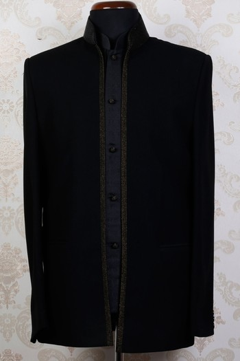 Black lenin  mesmeric straight fit suit with standing collar -ST429