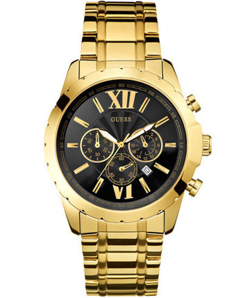 GUESS Watch, Men's Chronograph Gold-Tone Stainless Steel Bracelet 45mm U0193G1 - Men's Watches - Jewelry & Watches - Macy's