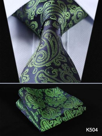 "TF4001G8 Navy Blue Green Paisley Floral 3.4"" 100%Silk Wedding Jacquard Woven Men Tie Necktie Pocket Square Handkerchief Set Suit"