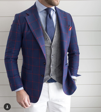 Blue blazer with white pants