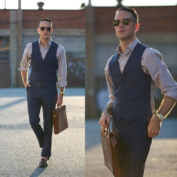 Mens suit vest and denim