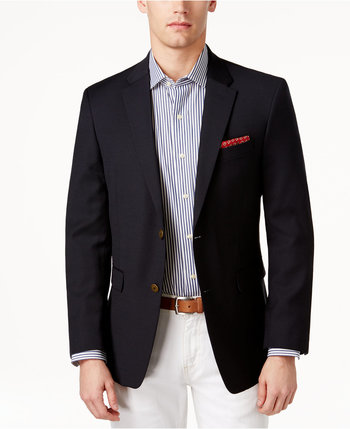 Tommy Hilfiger Slim-Fit Solid Navy Blazer - Blazers & Sport Coats - Men - Macy's