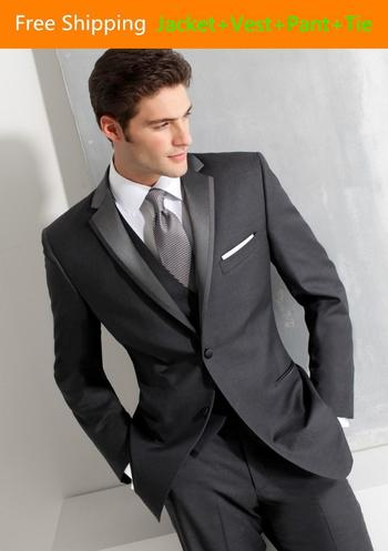 Attractive Two Buttons Romantic Peak Lapel Groom Tuxedos Wedding Party Groomsman Suit Wedding Party S