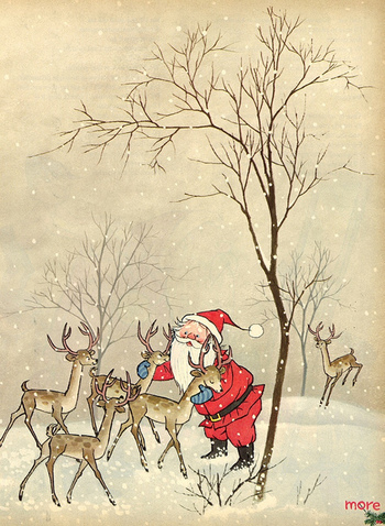 Santa his reindeer. I go crazy over vintage Christmas things. That is why my and my mother's attic is