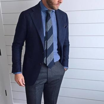 "Jason Yeats on Instagram: ""Can't miss when mixing grey and navy."""