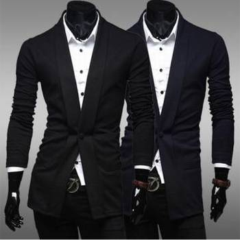 Mens Cotton Slim Coat one button Fashion Leisure suit