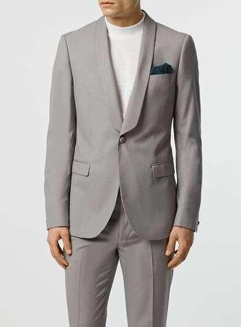 Light Grey Crepe Skinny Fit Tuxedo