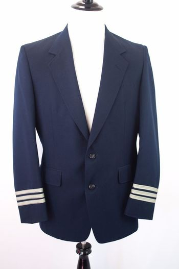 American Airlines Mens Pilot Flight Jacket Uniform Blazer Coat Size 40L Blue