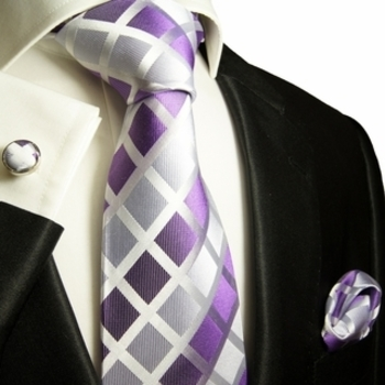 Violet and Silver Paul Malone Silk Tie