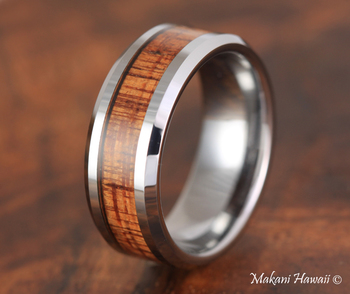 Tungsten Koa Wood Inlaid Mens Wedding Band