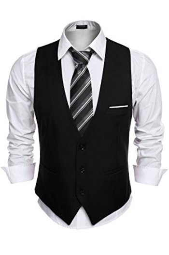 Coofandy Men's V-neck Sleeveless Slim Fit Jacket Casual Suit Vests at Amazon Men's Clothing store: