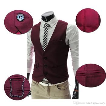 2015 New Men's Business Suit Slim Formal Casual Waistcoat Vest Fit Suits Wedding Costumes Black/White/Gray/Burgundy