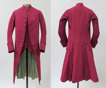 Suit (frock coat, sleeveless waistcoat, and breeches [not shown]), 1770–80, probably British, wool, s