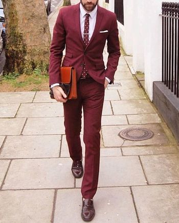 "@weareinsuits on Instagram: ""How to rock a wine suit #mensfashion #menswear #meninsuit #meninfashion #dapper #colouredsuit #dapperman #suit #menstyle #mensuit #gent…"""