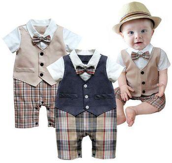 Baby Boys Romper Infant Gentleman Waistcoat suit Jumpsuits Rompers Clothes