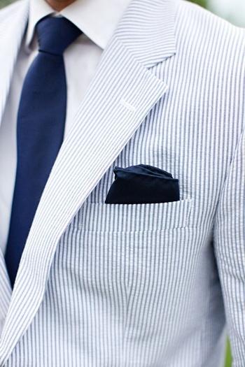 Light Blue Seersucker Suit + Navy Tie & Pocket Square | SOLETOPIA