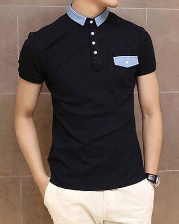 Slimming Trendy Turndown Collar Color Block Denim Splicing Short Sleeve Polyester Polo T-Shirt For Men