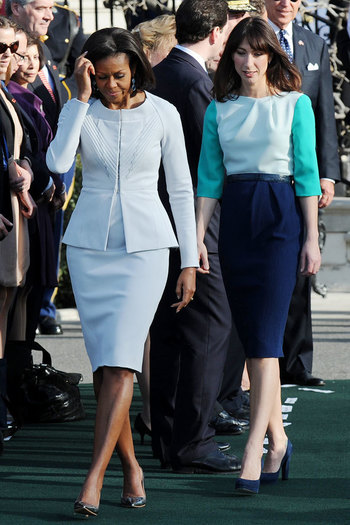 Samantha Cameron and Michelle Obama at US Welcoming Ceremony