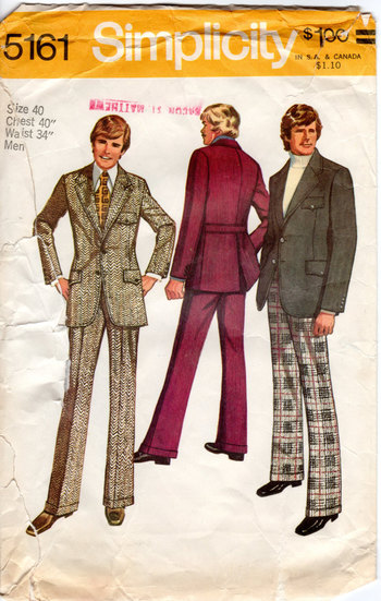 1970s Men's Suit Pattern - Vintage Simplicity 5161 - Chest 40