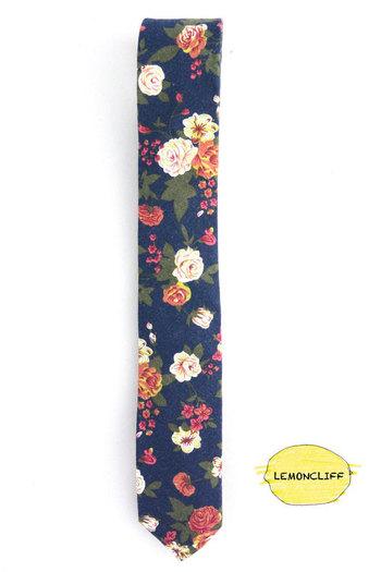 Vintage Skinny Floral Tie, Wedding Floral Tie, Blue Floral Tie