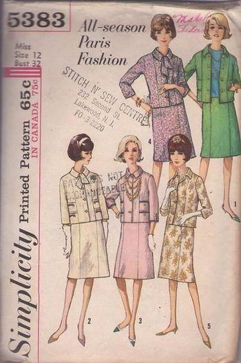 MOMSPatterns Vintage Sewing Patterns - Simplicity 5383 Vintage 60's Sewing Pattern TRES CHIC All Seas
