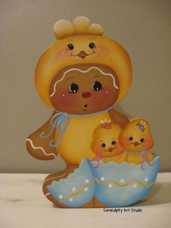 HP GINGERBREAD SHELF SITTER EASTER CHICK SUIT BABY CHICKS HANDPAINTED