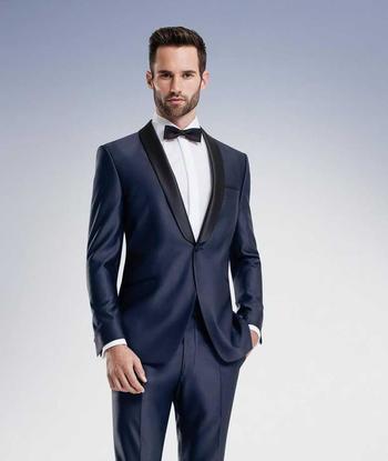 Mens Suits Wedding  Navy Blue High Quality Groom Tuxedos Shawl Lapel Groomsmen Mens Wedding Dresses Clothing Prom Suits Jacket+Pants+Girdle+Tie Aa1045 Tux For Men From Handbag1969  , $75.4| Dhgate.Com