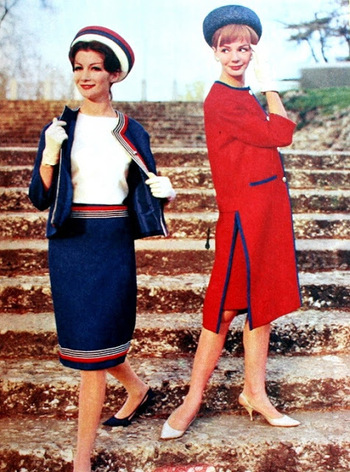 1962 Red white blue ensembles Nina Ricci early 60s suit dress coat jacket skirt blouse red white blue