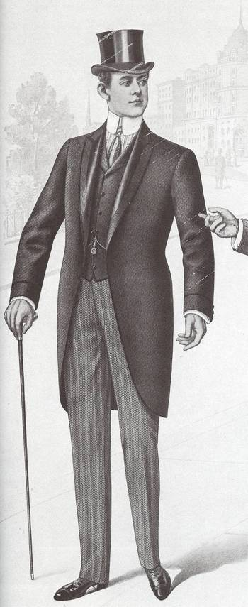 1907-1908 Men started to wear more fitting suits and their morning jacket was a cutaway style. (Sydne