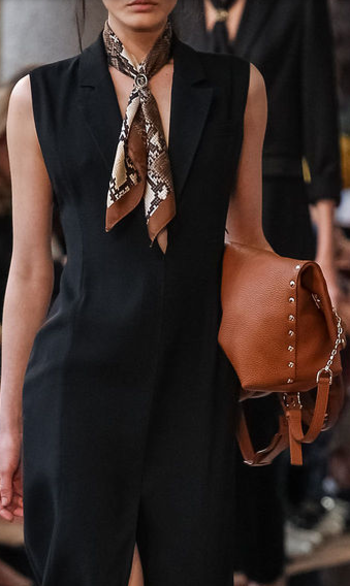 Trussardi, 2014 | Accessories. I like the scarf and this color of leather with black