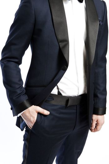 Navy Blue Suit with Black Lapels. Very