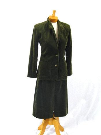 Olive Green Velvet Suit * Wiggle Skirt * Mad Men Suit * 1960s Suit * 60s Suit * Velvet Skirt * Velvet Jacket